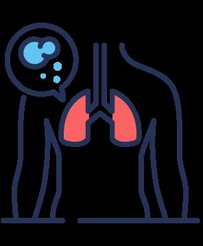 Symbole anatomique avec poumons rouges
