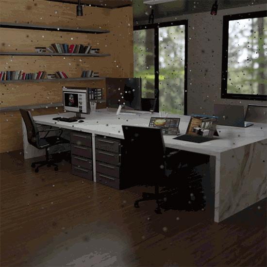 particules, composés organiques volatils dans un bureau